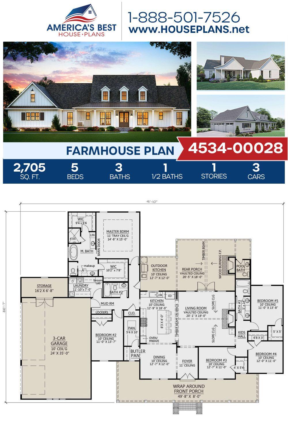 House Plan 4534 00028 Modern Farmhouse Plan 2 705 Square Feet 5 Bedrooms 3 5 Bathrooms In 2020 Modern Farmhouse Plans Farmhouse Plans House Plans Farmhouse
