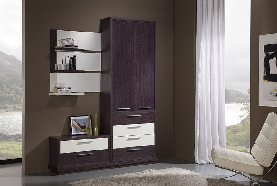 meuble d 39 entr e contemporain avec miroir rembrandt coloris weng et blanc meubles d 39 entr e. Black Bedroom Furniture Sets. Home Design Ideas