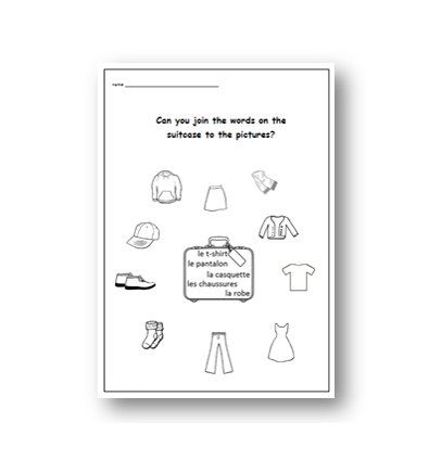 items of clothing french worksheet primary by yippeelearning french printable worksheets. Black Bedroom Furniture Sets. Home Design Ideas