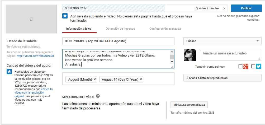 Se esta subiendo el vídeo del pasado 14 de Agosto Lo siento por el retraso estoy trabajando y no he tenido tiempo.