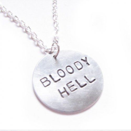 Bloody Hell Quote from Harry Potter Necklace Metal Hand Stamped pendant s...... | jscjewelry - Jewelry on ArtFire