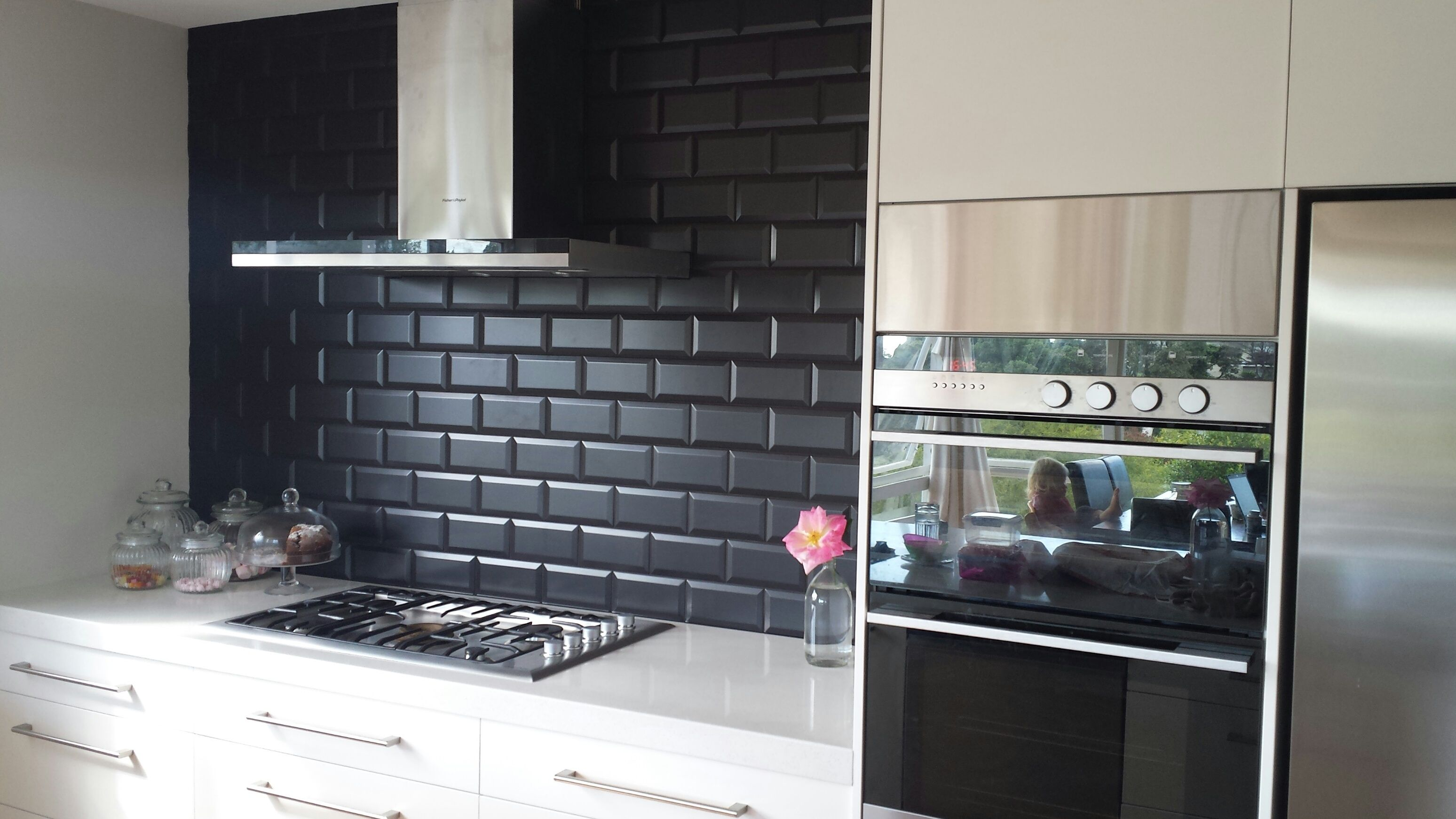 black beveled subway tile - Google Search | splashback | Pinterest ...