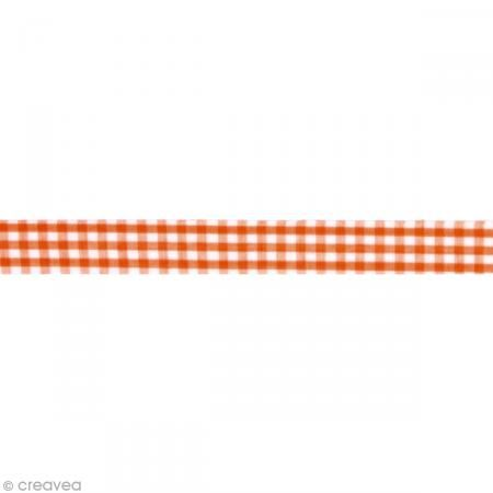 Fabric tape thermofixable - carreaux oranges foncés - 15 mm x 5 m #fabrictape