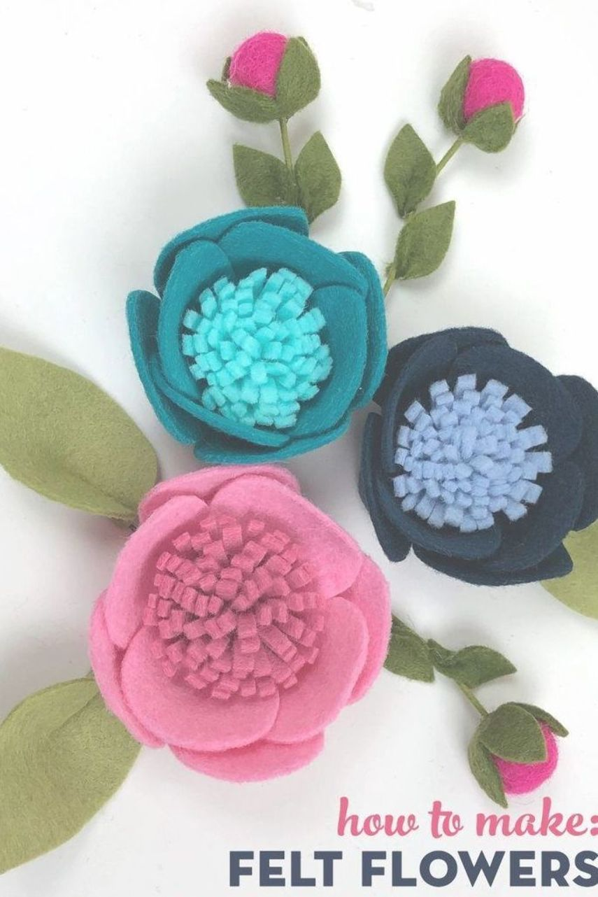 Learn How To Make Felt Flowers And Turn Them Into Fun Embroidery Hoop Art Feltflowers Diy Embro Felt Flowers Diy Felt Flowers Patterns Felt Flower Tutorial