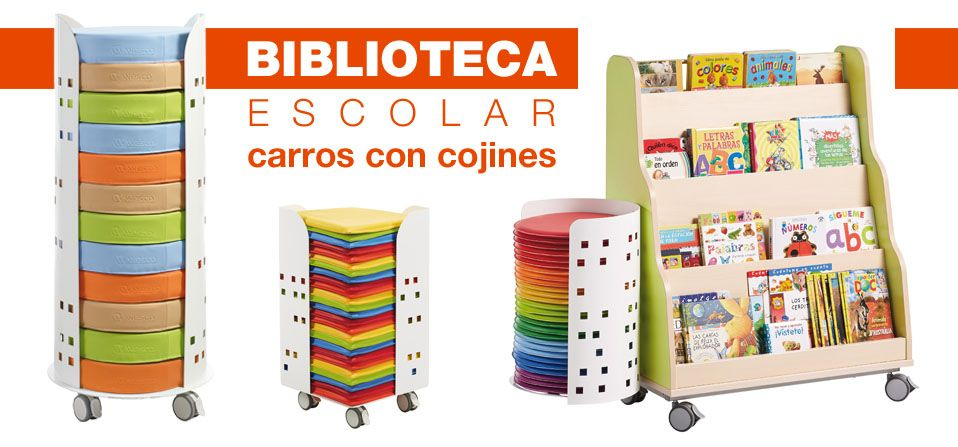 Carro biblioteca con 12 cojines | Hermex