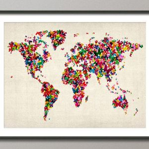 Butterflies map of the world map art print 453 by artpause on butterflies map of the world map art print 453 by artpause on etsy gumiabroncs Image collections