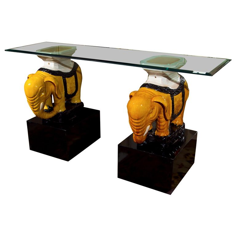 Ceramic elephant base stools as glass top console table