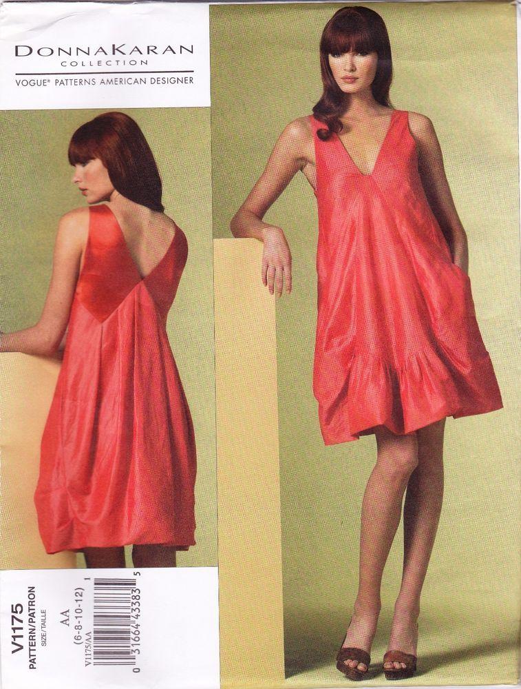 VOGUE Sew Pattern 1175 Donna Karan Trapeze Slouch Slouchy Dress 6-12 OOP