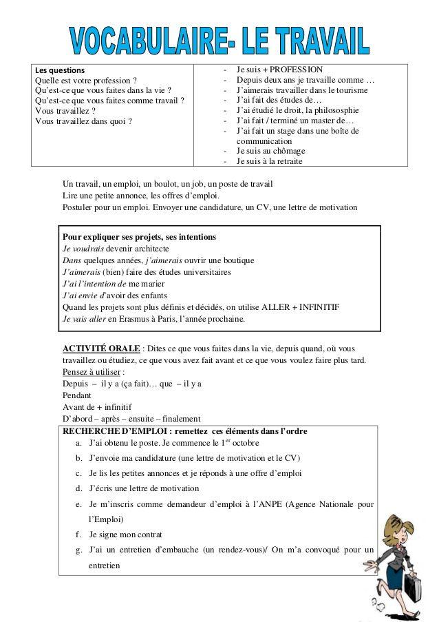 Les Questions Quelle Est Votre Profession Qu Est Ce Que Vous Faites Dans La Vie Qu Est Ce Que Vous Fai Vocabulaire French Expressions Apprendre Le Francais
