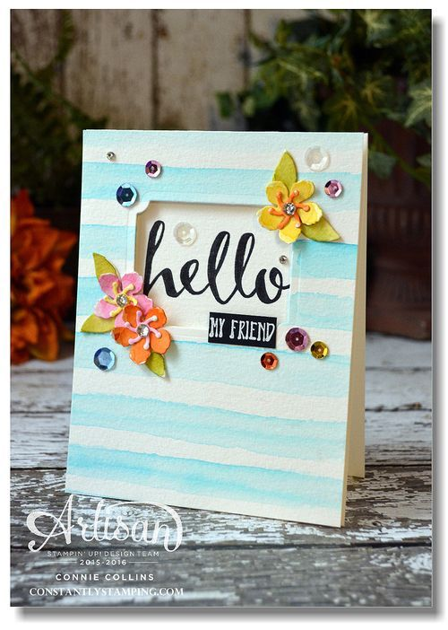 Watercolor card by Connie Collins for Global Design Project #GDP020