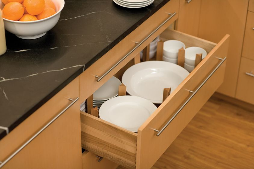 Dish Storage Drawer Below The Cabinet For Stacks Of Plates