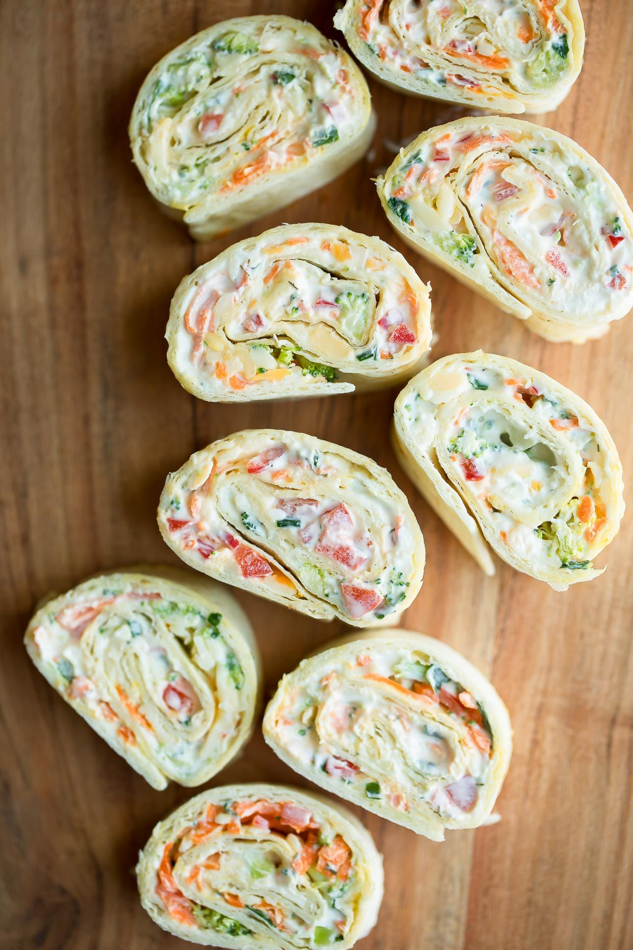 Vegetable Cream Cheese Tortilla Roll Ups - Peas And Crayons