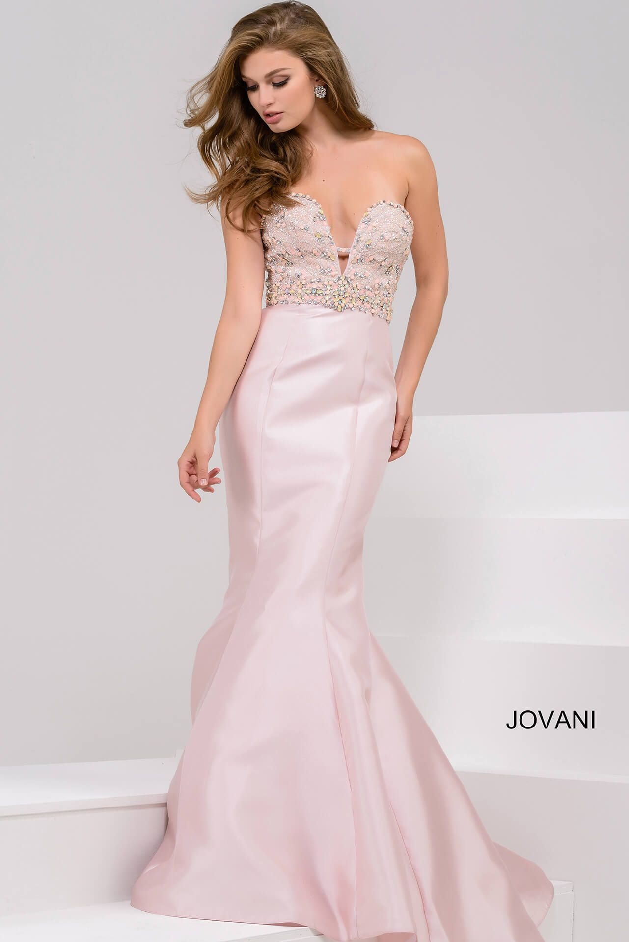 JOVANI BLUSH EMBELLISHED BODICE MERMAID GOWN. #jovani #cloth ...