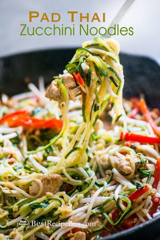 chicken zucchini noodle pad thai  recipe  zucchini