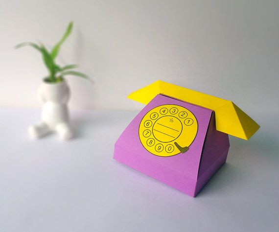 DIY Papercraft,Old style Telephone favor,Phone favor,party