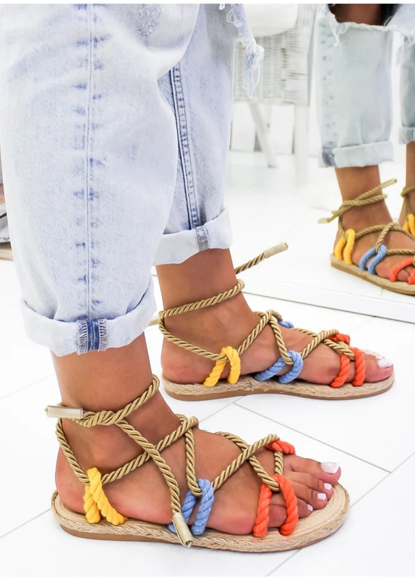 Women Sandals Summer Shoes Flat Sandals Hemp Rope Lace Up Gladiator Non Slip Lace Up Gladiator Sandals Womens Summer Shoes Summer Shoes Flats