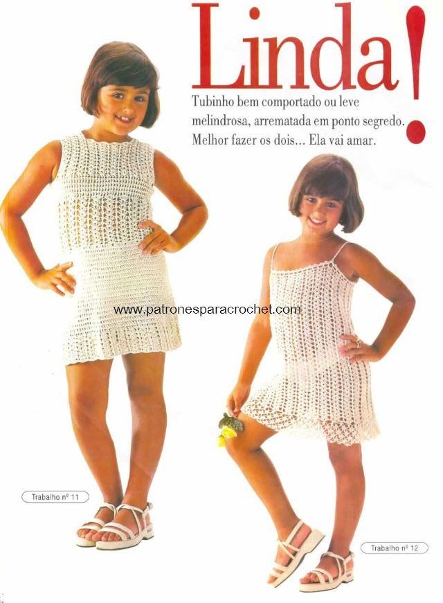 2 Modelos Vestidos Crochet para Niñas / patrones en pdf