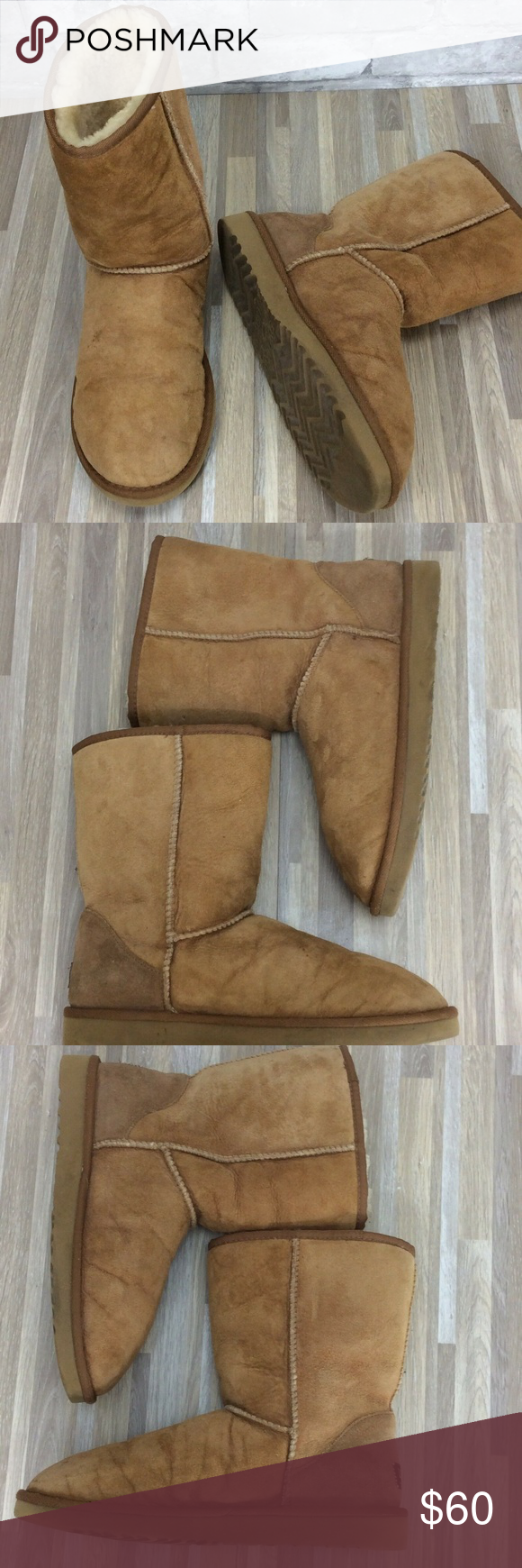 f48be2cf5fd Ugg Boots Chestnut Leather Shearling Classic Short Ugg Boots Womens Size  10M Chestnut Leather Shearling Calf