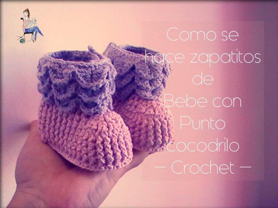 Como se hacen los zapatitos de bebe con punto cocodrilo a crochet ...