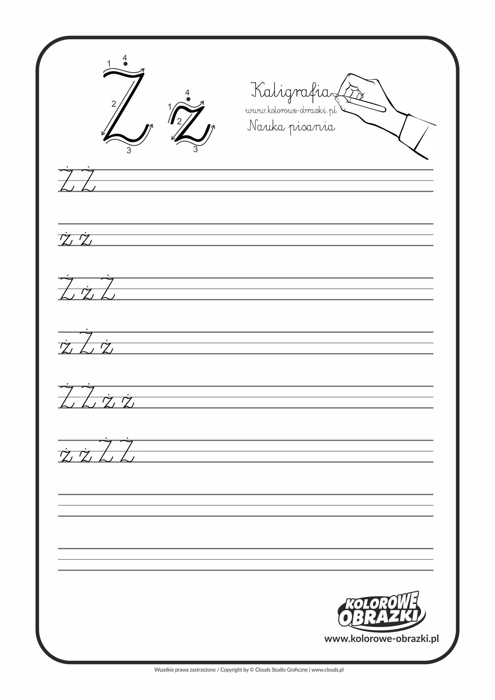 Kaligrafia Dla Dzieci Cwiczenia Kaligraficzne Litera Z Nauka Pisania Litery Z Math Projects To Try Math Equations