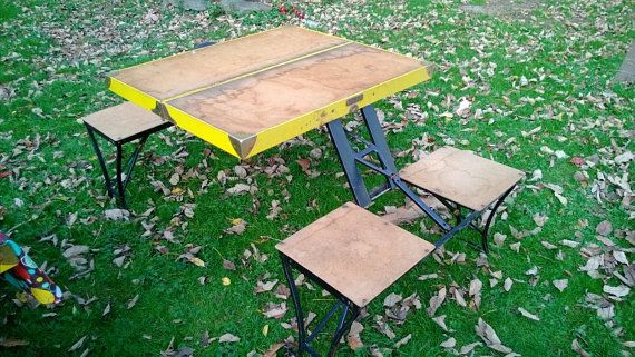 1940 S 1950 Folding Suitcase Picnic Table For By Mmegsvintage 70 00 This Might Be An Even Better Idea Easy To During Bad Weather