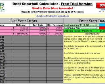 best free debt snowball calculator program excel