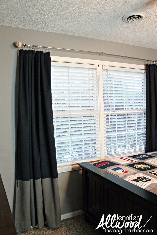 How To Turn Baseballs Into Playful Curtain Finials Redecorate Bedroom Baseball Curtains Home
