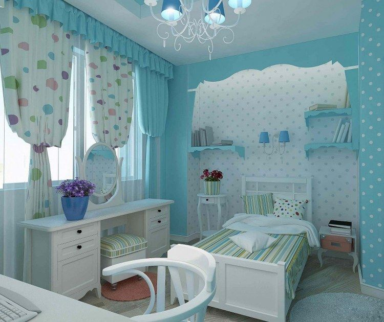 chambre enfant bleu ciel, meubles en bois laqué blanc, lit simple ...