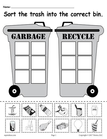 sorting trash earth day recycling worksheets 4 free printable versions seasons holiday. Black Bedroom Furniture Sets. Home Design Ideas