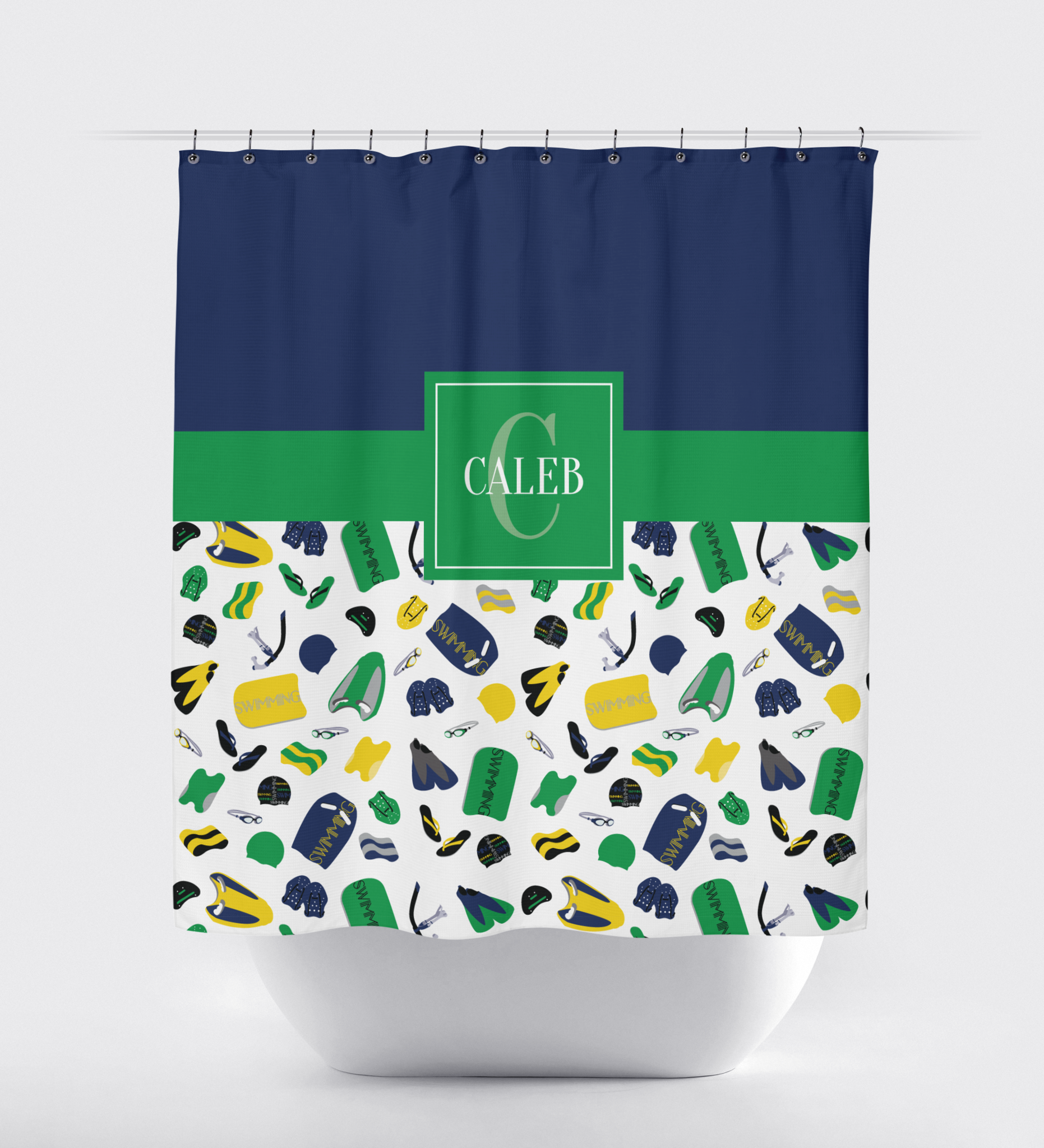 Swimming Themed Shower Curtain With Swimmer S Name Navy Blue