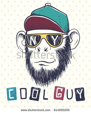 Image by Shutterstock Cool Monkey Dressed Up  Men/'s Tee