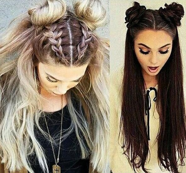 Double Bun Half Up Half Down Weddinghairstyleshalfuphalfdown Hair