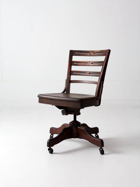 Antique Desk Chair Wood Swivel Office