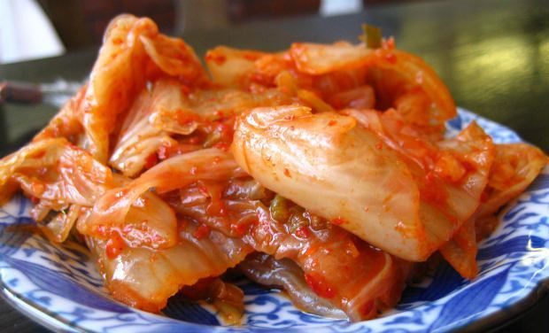Easy Cabbage KimchiIngredients:1 large/fresh Chinese cabbage150 gm saltWater in a bowl to soak cabbageFor kimchi sauce preparation5 tbsp fish sauce5 tbsp red pepper powder1 small onion slicedCouple