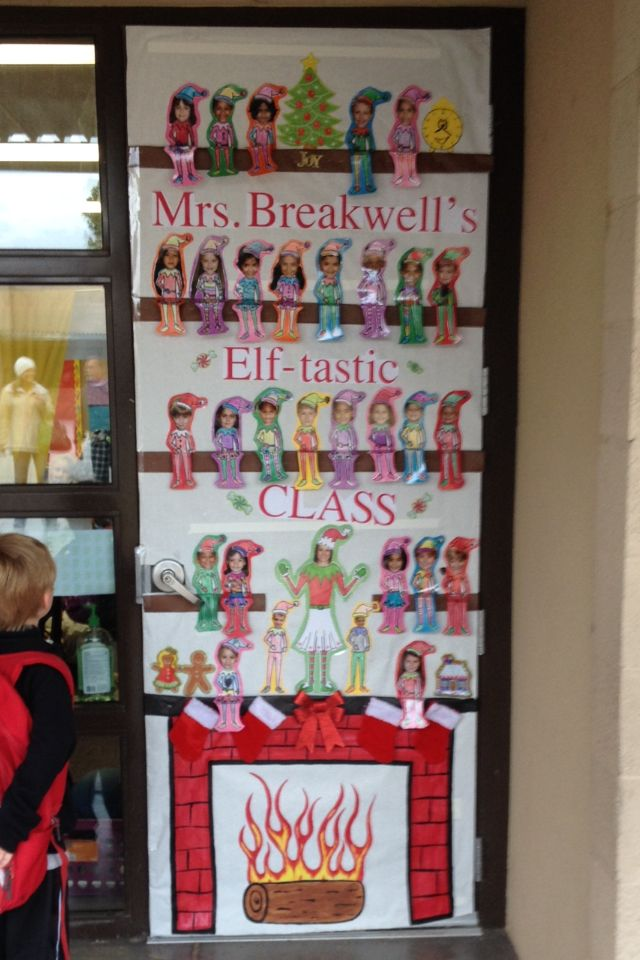 Classroom Elf Ideas ~ Classroom elf on the shelf door decor christmas