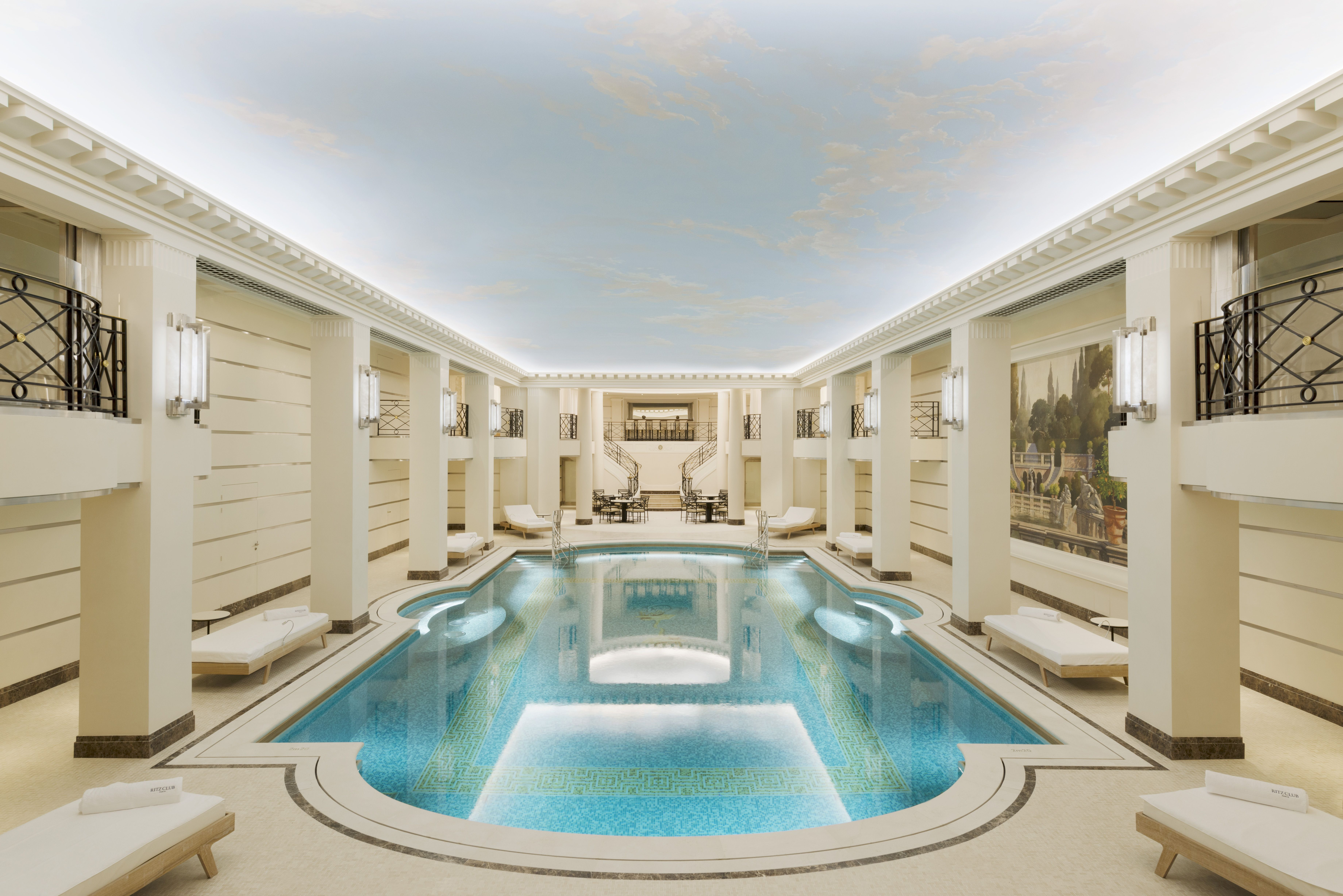 The swimming pool is appropriately grand.