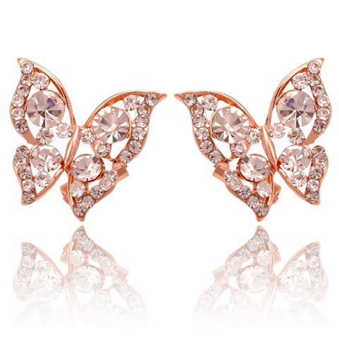 $2.85 Pair of Shinning Fully-jewelled Butterfly Earrings For Women