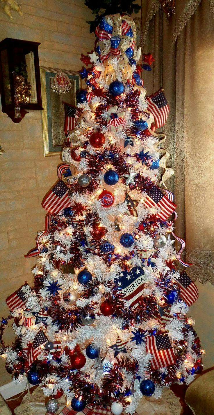 Va Military Red White And Blue American Christmas Tree White Christmas Tree Decorations Blue Christmas Tree Patriotic Christmas Tree