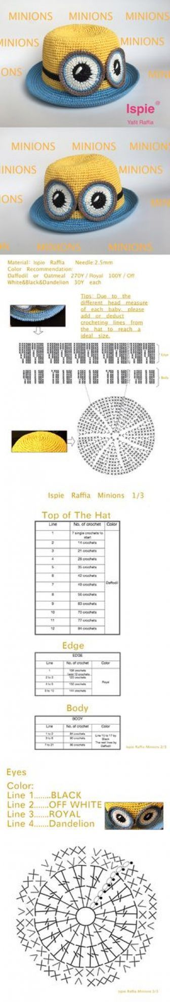 Ispie raffia crocheting hat for kid. | Minions | Pinterest | Gorros ...