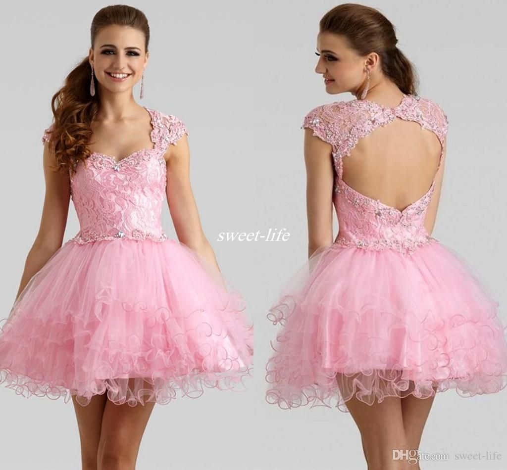 Pink 2017 Ball Gown Tulle Homecoming Dresses Open Back Sweetheart ...