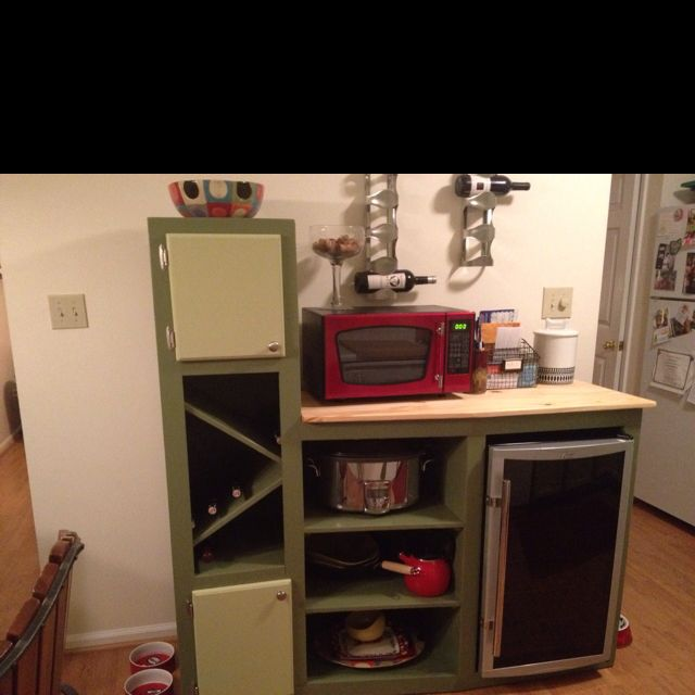 My handy boyfriend! Custom made unit to fit my important things.... Wine, wine fridge and crockpot!