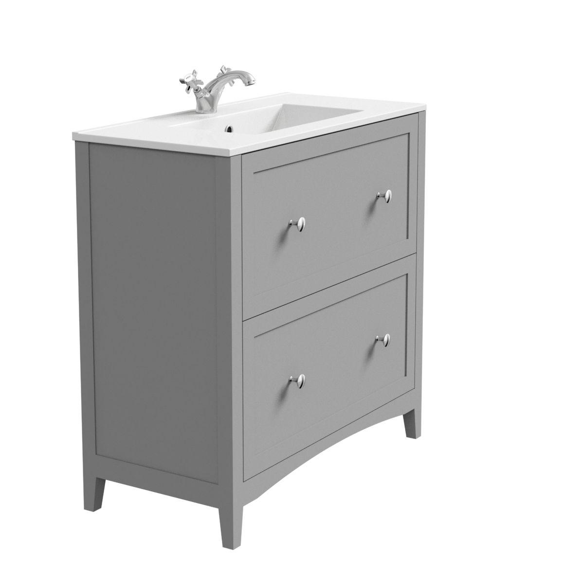 The Bath Co Camberley Satin Grey Floorstanding Vanity Unit And