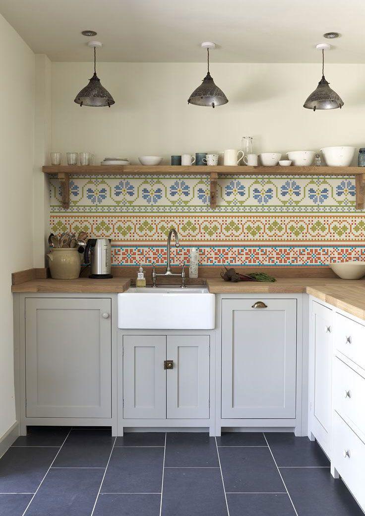 Kitchen Wall Wallpaper - Cross Stich - Lime Lace £110 #wallpaper