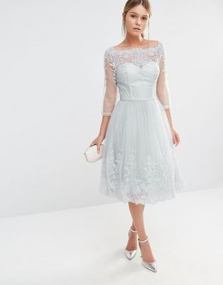 Chi Chi London Midikleid Aus Tull Mit Edler Spitzenstickerei Prom Dresses With Sleeves Tulle Dress Embroidered Lace Dress