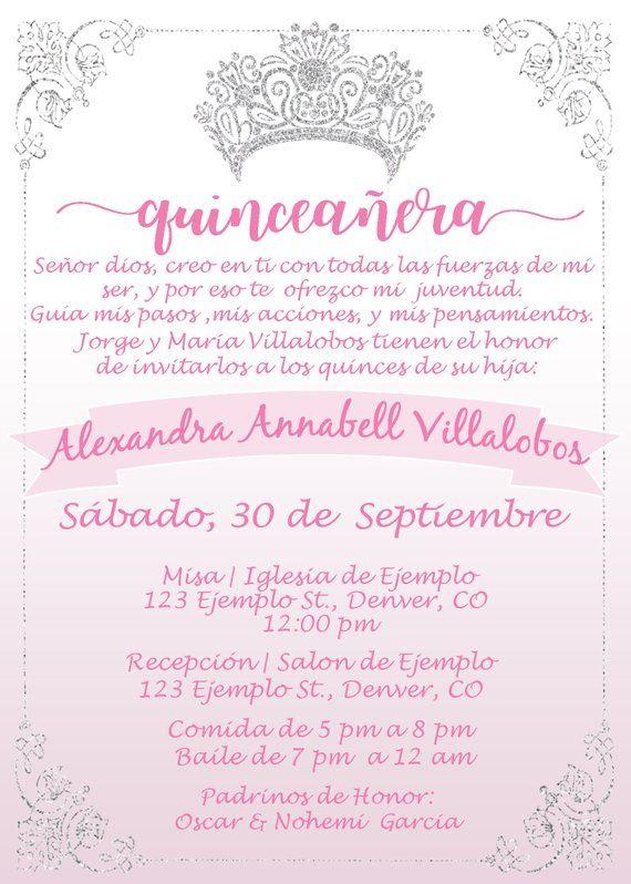 Invitacion De Quinceanera En Rosita Pink Xv Anos Invitation Con