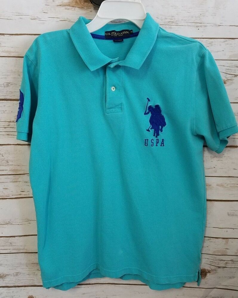 e51813018 U.S. Polo assn Polo Shirt Mens size M Teal Blue Big Pony 3 Short Sleeve  Pique #USPoloAssn #PoloRugby