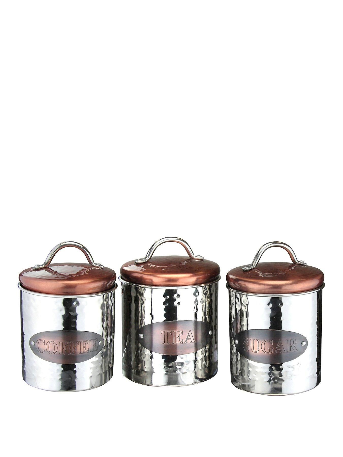 82f02db94b41 the New copper and stainless steel range of kitchen storage is stylish and  functiional. The set of 3 containes a tea,coffee and sugar canister and  they ...