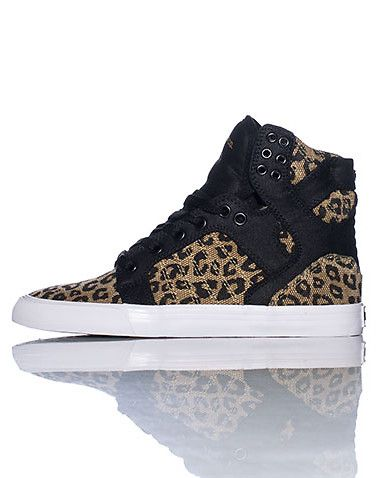 95290d989262d8 SUPRA High top womens sneaker Cheetah print throughout Lace up closure  Cushioned sole for ultimate comfort