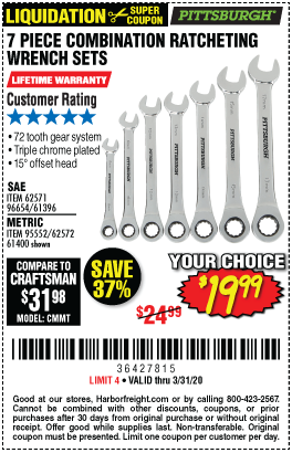 Pittsburgh Sae Combination Ratcheting Wrench Set 7 Pc For 19 99 In 2020 Ratcheting Wrench Set Wrench Set Harbor Freight Tools