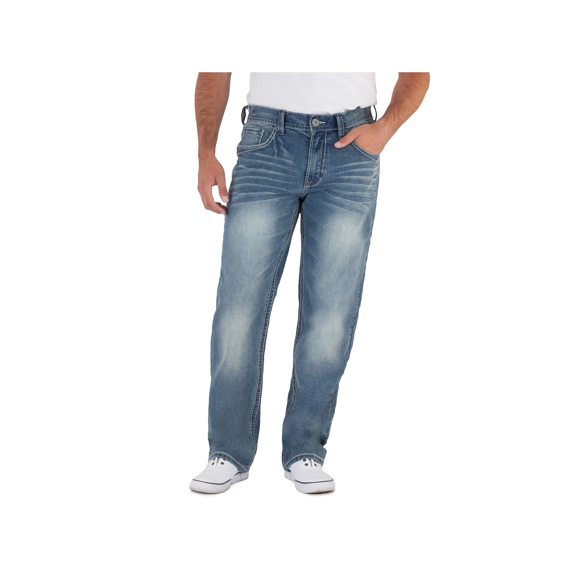 02b0f668 Men's Axe & Crown Stretch Relaxed Straight Jeans, Size: 36X34, Dark Blue